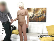 Natural busty blonde rode agents cock