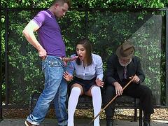 Lustful Teen Abella Danger sucks a huge cock in the bus stop
