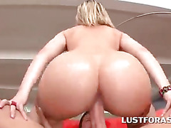 Smoking hot blonde sex queen deep throats and rides dick