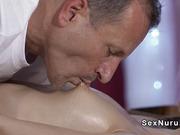 Brunette with beautiful ass got massage