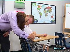 Schoolgirl pressed to cock