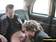 Kinky fem cabbie seduces male client to sex