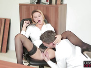Blonde babe sweets her young co worker to fuck her hard