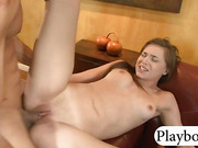 Teen cheerleader sucks cock and pounded