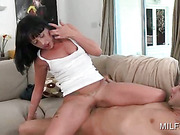 Bitchy brunette MILF filling mouth and pussy with hard cock