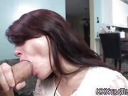Petite slut swallows cum