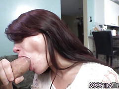 Petite slut swallows cum