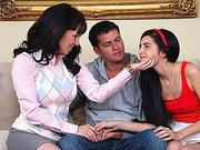 Stepmom Ray Vaness handles threesome sex