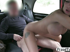 Huge fake tits amateur dancer sex in car with her taxi driver