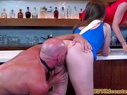 Celebrating cfnm babes fuck bartender