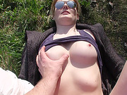 Meggie and Vera shows tits and gives blowjob in public in exchange of cash